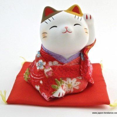 Manekineko en kimono Rouge